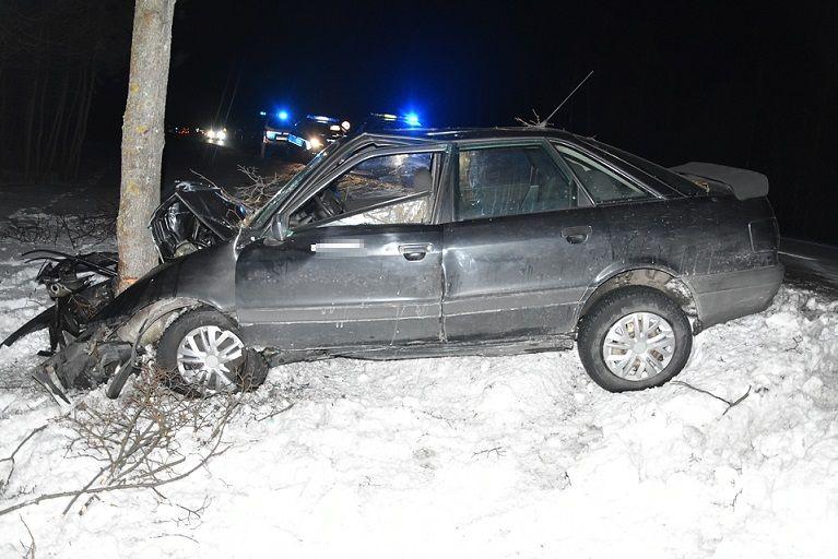 Audi uderzyło w drzewo. Kierowca trafił do szpitala