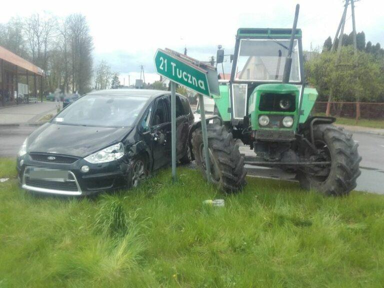Pijany traktorzysta spowodował kolizję drogową
