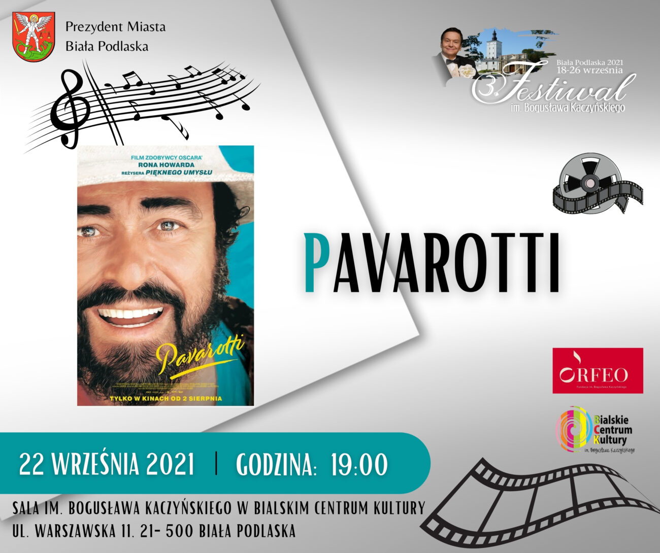 Projekcja filmu o Pavarottim